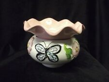 "Handpainted African Violet Pot ""Pink Morning Glories & Butterfly"""