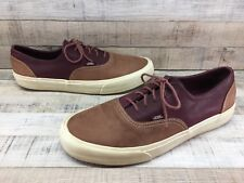 VANS Tan Burgundy Leather Skate Shoes Sneakers Oxfords Men's sz 10