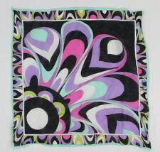 """Emillio Pucci 100% Cotton Multi-Color Geometric Print Scarf - 16.5"""" x 16"""""""