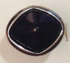 bague bijou fantaisie couleur argent cabochon noir taille réglable