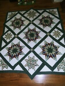 """Small Hand & Machine Stitched Fall Star Shapes Quilted LapThrow/ Cover 46 x 54"""""""