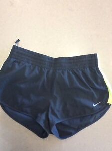 Nike Dri Fit Size S Black Shorts With Green On Sides Exc Condition