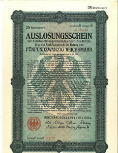 GERMANY 1925 25 REICHSMARK BOND CERTIFICATE, COMPLETE 2 PAGES