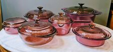 Vintage Corning Pyrex Vision Ware   Cranberry   Glass Cookware   12 pc   Rare!