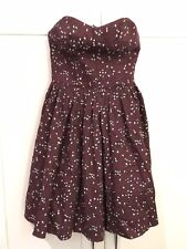 JACK WILLS Floral Burgundy Strapless Mini Dress SIZE 8 Christmas Great Cond