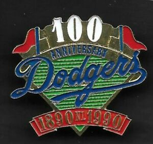 1990 LOS ANGELES DODGERS  100th Anniversary  ( Not Unocal )  HAT PIN BACK BUTTON
