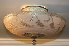 Antique pink glass semi flush original 1940s art deco light fixture chandelier