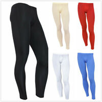 Sexy Mens Long John Pants Pouch Underpants Legging Sports Fitness Gym Trousers
