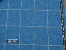 100% WOOL TWEED FABRIC, MIXTURE BLUE WINDOWPANE/HERRINGBONE - MADE IN ENGLAND