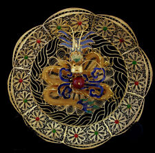 """8""""  D VINTAGE CHINESE FILIGREE CLOISONNE 3D DRAGON AGATE PLATE W/ STAND"""