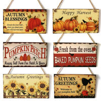 Fall Autumn Harvest Wooden Board Thanksgiving Pumpkin Hanging Sign Door Decor