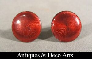 P&F Superb Cufflinks with Red Guilloche Enamel Tops