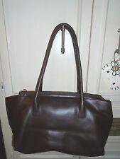 Italy Designer TOSCA BLU Brown Leather Tote Shoulder Bag Handbag Purse Large