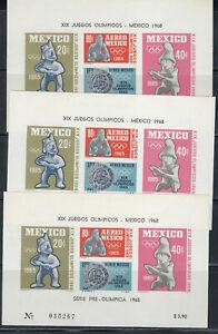 MEXICO  1968 OLYMPIC 3 SOUVENIR SHEETS Sc#c310a  CV$12+(A216)