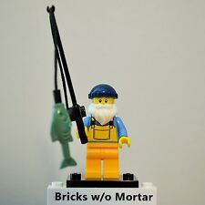 New Genuine LEGO Fisherman Minifig with Fish and Pole Series 3 8803