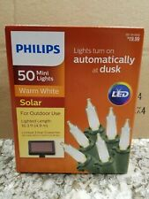 Philips 50 Outdoor Solar LED Mini Lights Warm White Christmas Patio Yard Party