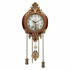 Wooden Silent Wall Clock Pendulum Mahogany Traditional Ornate Carved Elegant 9""
