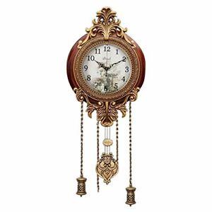 "Nice Wooden Silent Wall Clock Pendulum Mahogany Traditional Carved Elegant 9"""