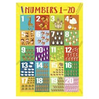 Numbers 1 to 20 First Learning Educational Wall Chart Kids Poster, Animals Theme