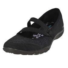 Women Skechers Breathe Easy 23005blk Black Sticking Strap Mary Jane Shoes 6