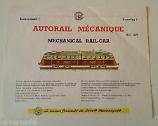 PLANCHE JOUSTRA TRAIN AUTORAIL MECANIQUE SNCF PROVENANT DU CATALOGUE 1960 TARIF
