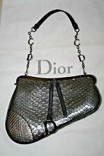 CHRISTIAN DIOR Silver Snakeskin Small Saddle Handbag  Evening Bag Purse