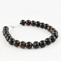 Genuine 133.00 Cts Earth Mined Untreated Black Onyx Round Shape Beads Bracelet