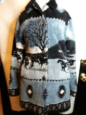 Outbrook Fleece HORSE Jacket Button Up Nature Scene Womens S Blue & White