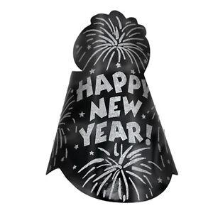 Happy New Year Black Foil Glitter Hats x 12