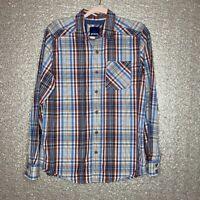 PrAna Mens Sz M Plaid Button Down Shirt Brown Blue White