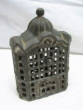 Vintage Cast Iron Office Building Dime Still Bank Mission Toy Penny Coin Tower G