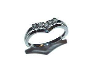 9ct White Gold & Illusion Set Diamond Fancy Wishbone Ring - UK Size M