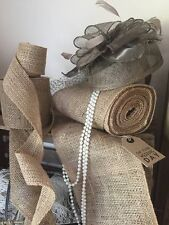 "33ft of Natural Hessian 4"" Ribbon , Ideal for Christmas Wreaths, Bows, Chairs"