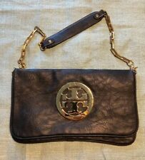 Tory Burch Logo Reva Bombe Black Leather Shoulder Bag Clutch Purse Wrist Key Fob
