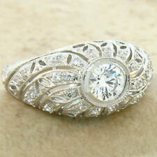ANTIQUE ART DECO DESIGN 925 STERLING SILVER WHITE CZ RING SIZE 7,   #620