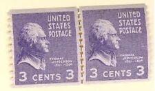 Us 842 Thomas Jefferson Joint Line Pair Mnh c1