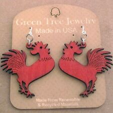 Rooster Cherry Red Laser Cut Wood Earrings Green Tree Jewelry COMBINED SHIPPING
