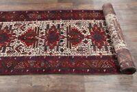 Vintage Geometric Tribal 15 ft LONG Runner IVORY Gharajeh Oriental Rug WOOL 3x15