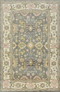 Oushak 5'x8' Grey Wool Hand-Knotted Oriental Rug