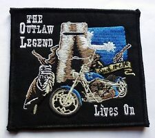 THE OUTLAW LEGEND NED KELLY - SEW OR IRON ON BIKER MOTORCYCLE PATCH 100mm x 90mm