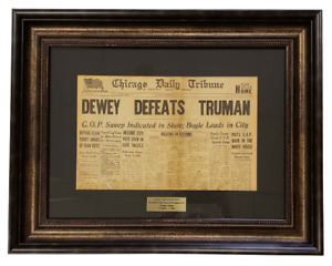 Rare Dewey Defeats Truman Original & Authentic Newspaper Professionally Framed