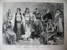 ALBANIE KRAÏA FEMMES TYPES COSTUMES NAUFRAGE PAQUEBOT LE CIDRE GRAVURES 1880