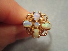 10K Gold Filigree, Brilliant 5 Stone Natural Opal, 4 Point Star Ring, Size 7