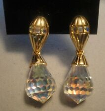 SWAROVSKI SWAN SIGNED GOLD TONE DROP DANGLE EARRINGS CLEAR CRYSTAL DROP