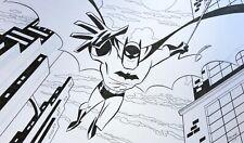 ETHEN BEAVERS Batman ORIGINAL ART splash 11 x 17 SIGNED Bruce Timm style BTAS WB