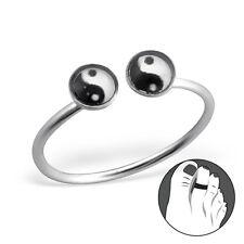 Tjs 925 Sterling Silver Toe Ring Double Yin Yang Symbol Adjustable Jewellery