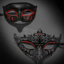 His & Her Couple Masquerade Mask, Black Red Themed Phantom Mask M6107, M7110