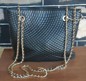 Quilted leather tote bag, black, by 'Goldcrest', size 25cm x 32cm