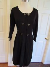 Tahari Arthur S Levine Women's Black Wool Blend 3/4 sleeve Sweater Dress XL