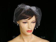 "Handmade White 9"" Bridal Pearls Edge Wedding Birdcage Blusher Veil"